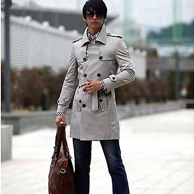 Men's Slim Double Breasted Trench Coat