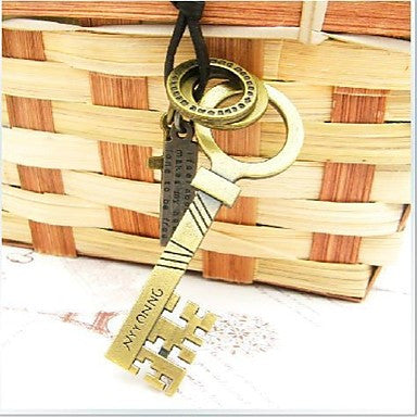 Fashion Retro Punk Special Key Brown Leather Alloy Pendant Necklace(1 Pc)