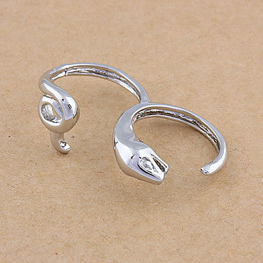 Fashion Silver Double Finger Ring(Random Color,Size 9)