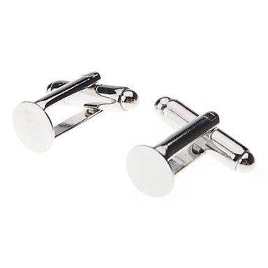 8mm Round Metal Silver Cufflinks (Contain 10 Pics)