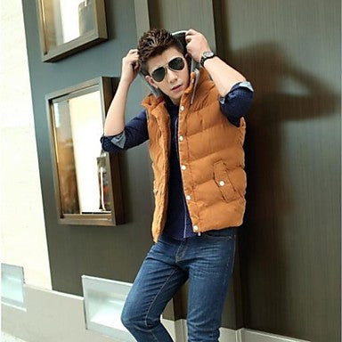 Men's New Warm Thicken Fashion High Quallity Sleeveless Cotton Casual Waistacoat Outwear