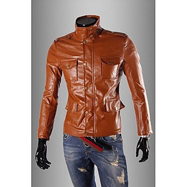 Men's Multi Pockets Slim PU Jacket