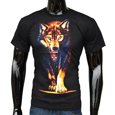Men's Fashion 3D Wolf Printed T-Shirt