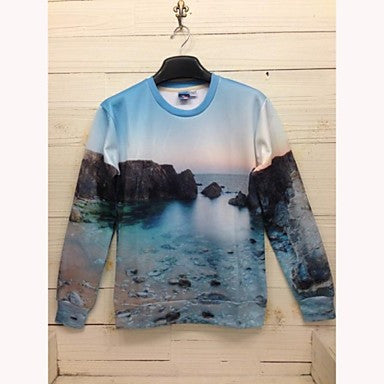 Men's Fashion 3D Print Long Sleeve Leisure Sweater