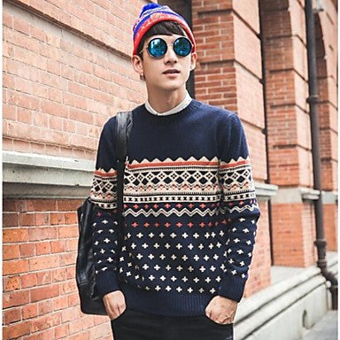 Men's Round Collar Ethnic Print Loose Long Sleeve Sweater (More Colors)