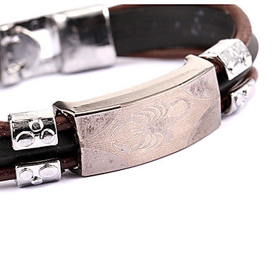 Punk Style Scorpion Pattern Brown Leather Bracelet(1 Pc)