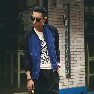 Men's Stand Collar Fashion Color Matching Jacke Coat