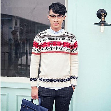 Men's Slim Contrast Color Round Collar Sweater