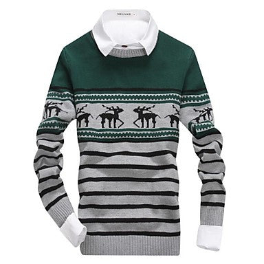 Men's Round Collar Fashion Classic Stripe Knit Sweaters