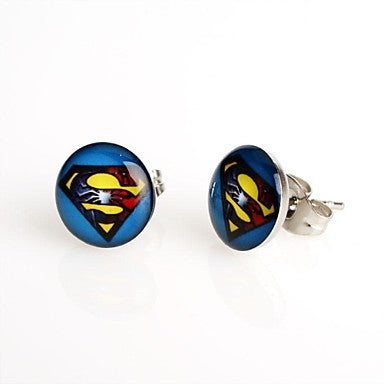 Fashion Blue Background Superman Stud Earrings