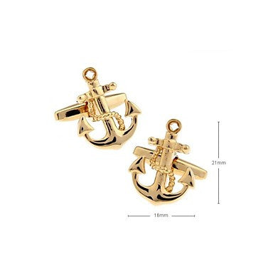 Art Design Anchor Rudder Fishing Navy Sailor Boat Sea Cuff Links Gold Cufflinks