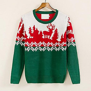 Men's Autumn Winter Explosion Korean Cultivating ChristmasTheme Pattern Crewneck Sweater