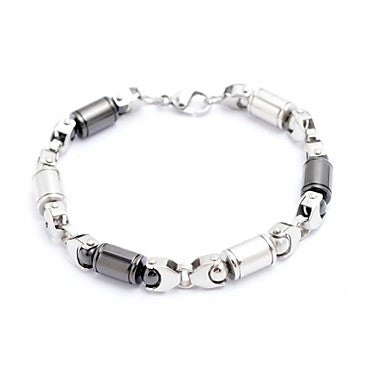 Fashion Men's Gold/Silver/Black Little Columns Tennis Bracelets