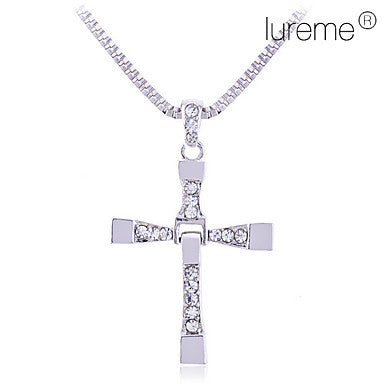 Men¡®s Alloy Diamond Inlaid Cross Necklace (Silver)