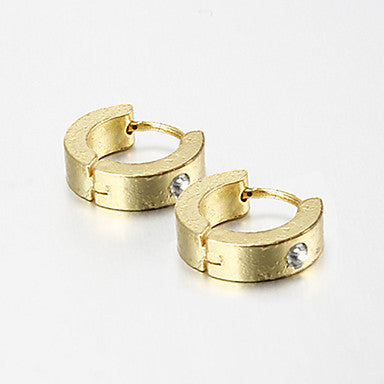Gift For Boyfriend Fashion Single Rhinestone Gold Titanium Steel Stud Earrings (1 Pair)
