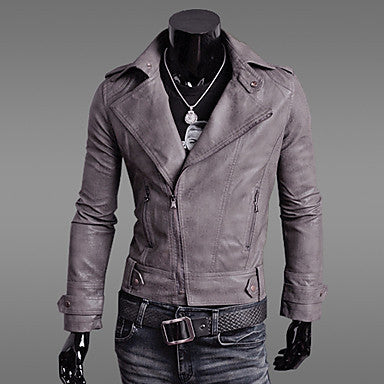 Men's Lapel PU Leather Diagonal Motorcycle Coat