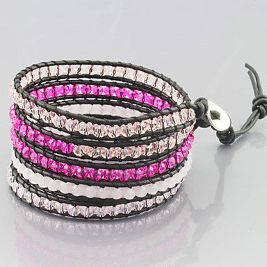 Chic Friendship Weaving PU Leather 4 Wrap Bracelet With Crystal