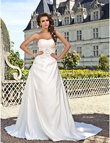 Wedding Dress A Line Chapel Train Satin Strapless With Beading Embroidery