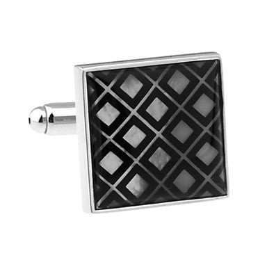 Men's Alloy Black Plaid Cufflink(1 pair)