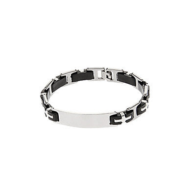 Classic H Shape 46cm Men's Black Titanium Steel ID Bracelet(1 Pc)