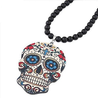 European Style Fashion Cartoon Skeleton Black Acrylic Bead Necklace