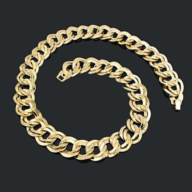Figaro Chain 60cm Men Golden Gold Plated Chain Necklaces(21.5mm Width)