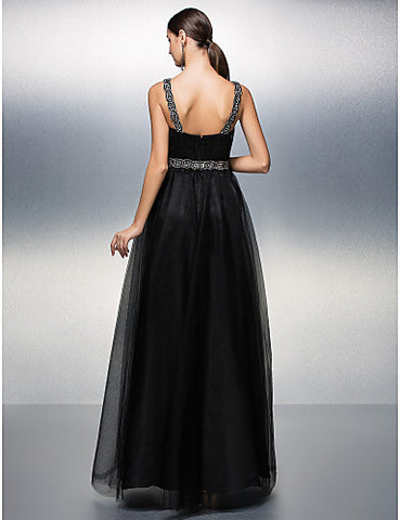 A-line Straps Floor-length Tulle Evening Dress