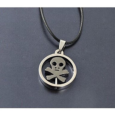 European Skull Leather Pendant Necklace(Silver) (1 Pc)