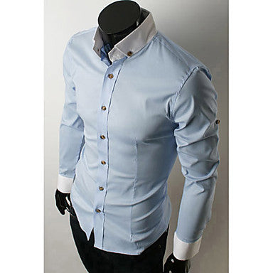 Contrast Color Collar Slim Shirt