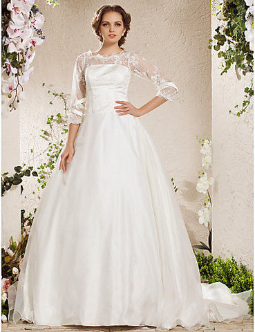 Ball Gown Bateau Chapel Train Lace Organza Wedding Dress