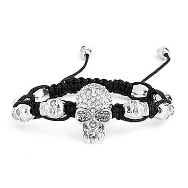 Fashion Skull Alloy Woven Bracelet with Rhinestone