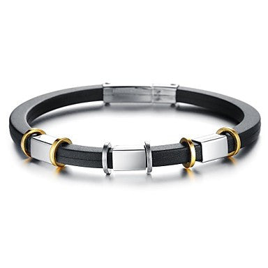 Retro Men's Charm Stainless Steel Silicone Bracelet (1 Pc)