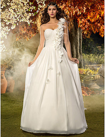 A-line Princess One Shoulder Floor-length Chiffon Wedding Dress (605108)
