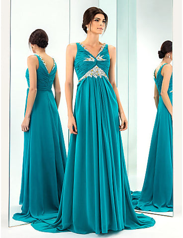 A-line/Princess V-neck Sweep/Brush Train Chiffon Evening Dress