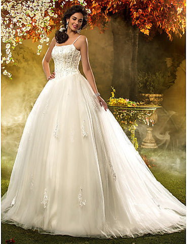 A-line Princess Spaghetti Straps Tulle Wedding Dress