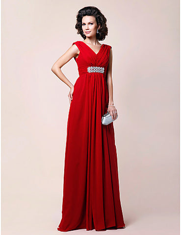 Sheath/Column V-neck Floor-length Draped Chiffon Mother of the Bride Dress