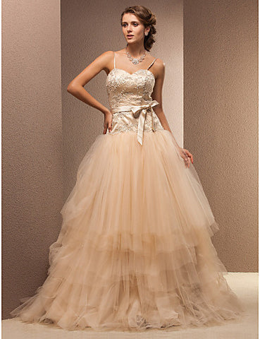 Fit and Flare Sweetheart Floor-length Lace And Tulle Wedding Dress