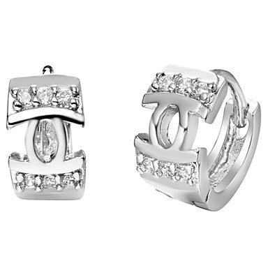 Gifr for Boyfriend High Quality Silver Plated Hollow Men's Stud Earrings(1 pr)