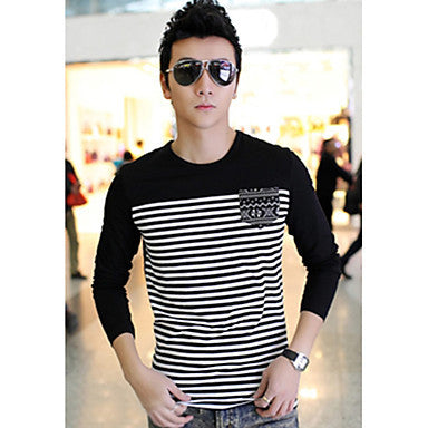 Men's Round Collar Striped T-Shirts
