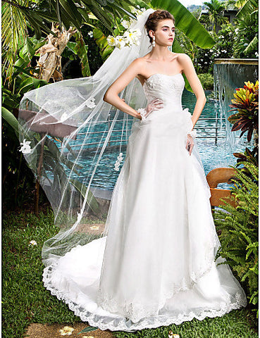 A-line Princess Strapless Court Train Organza Wedding Dress (632810)