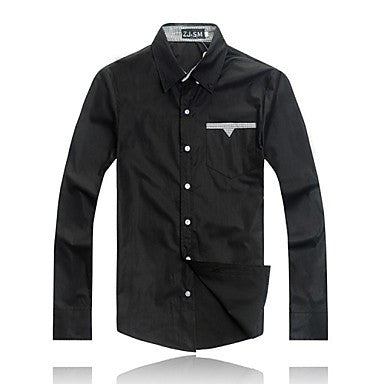 Men's New Fashion Turn-down Collar Long Sleeve Bodycon Shirts