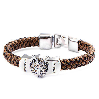 Punk Style Wolf Head Brown Leather Bracelet(1 Pc)