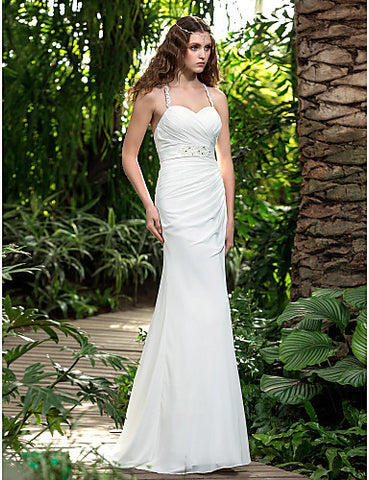 A-line Spaghetti Straps Sweep/Brush Train Chiffon Wedding Dress (551582)