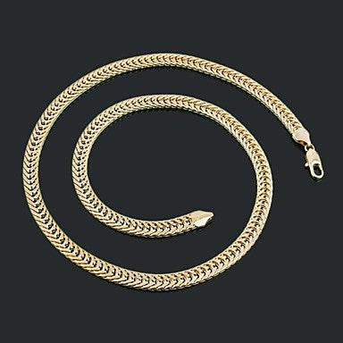 Figaro Chain 60cm Men Golden Gold Plated Chain Necklaces(7.5mm Width)
