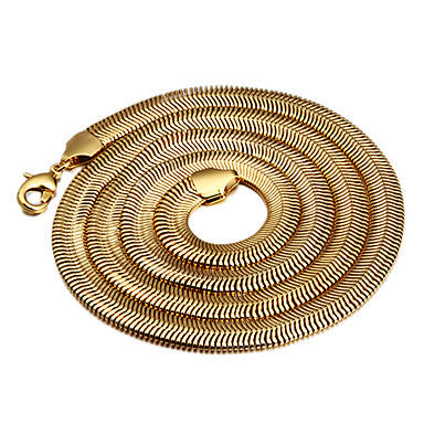 72cm,8mm,18K Gold Plated Figaro Chain Snake Chain Men's Chain Necklace,Flexible,Uneasy Fade