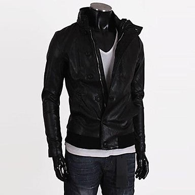 Men's Stand Collar Casual Long Sleeve Button Decorative Leather Jacket