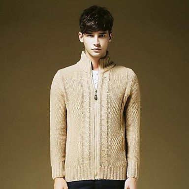 Men's V Neck Nude Color Basic Long Sleeve Sweater Shirt