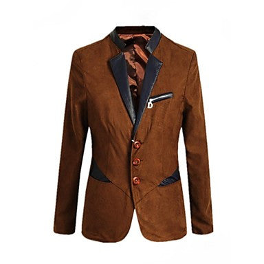 Men's Long Sleeve Blazer Pure Calfskin Outerwear