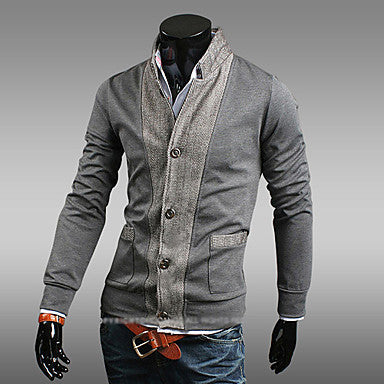 Men's stand collar stitching cardigan fllece lined coat