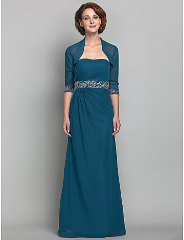 Sheath/Column Strapless Floor-length Beading Chiffon Mother of the Bride Dress